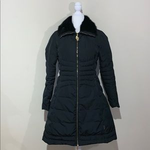 Moncler Long Black Down Puffer w/ Mink Fur Collar